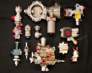 Various sizes of propellant and oxidizer valves, piston and diaphragm pressure regulators, pressure relief valves,  propellant poppet valves, double stage loader valves, oxidizer regulating valves and many others.